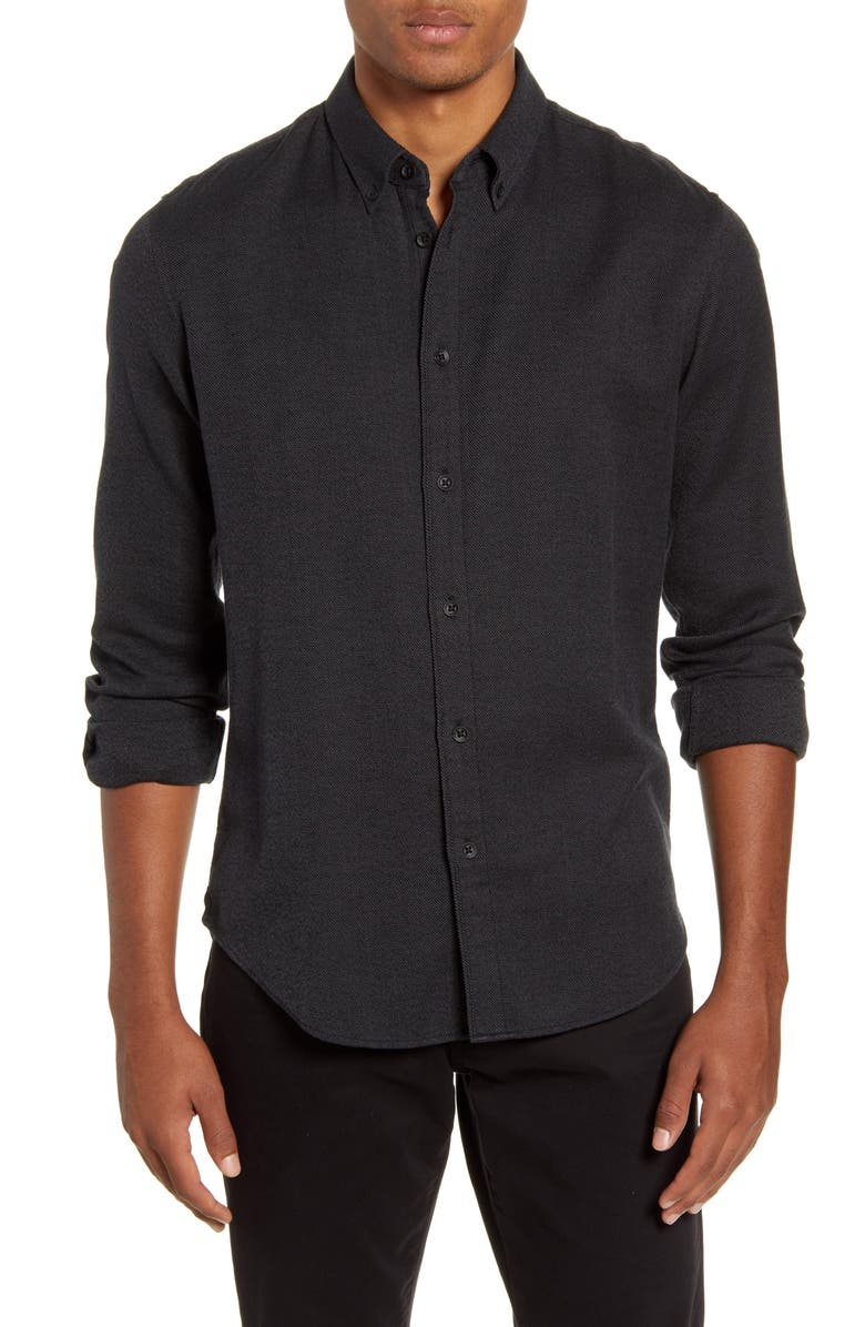 RAG & BONE Fit 2 Tomlin Slim Fit Jaspé Button-Down Shirt, Main, color, BLACK