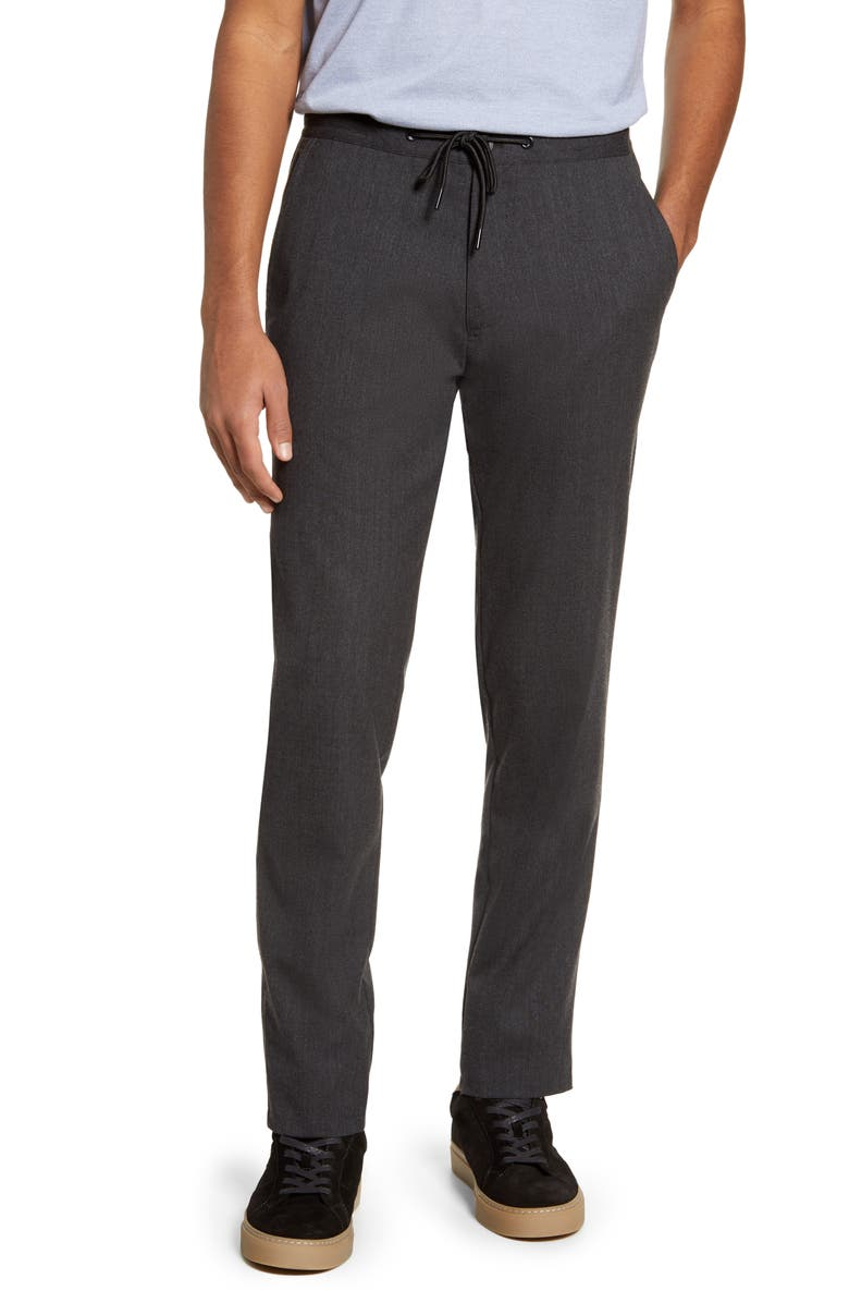 ROBERT BARAKETT Wilfrid Drawstring Wool Blend Trousers, Main, color, GREY