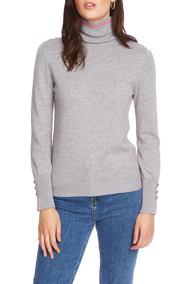 COURT & ROWE Button Cuff Tipped Turtleneck Sweater, Main, color, SILVER HTHR
