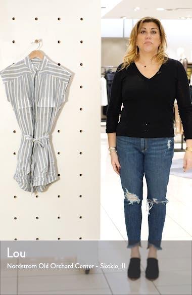 Stripe Linen Belted Romper, sales video thumbnail