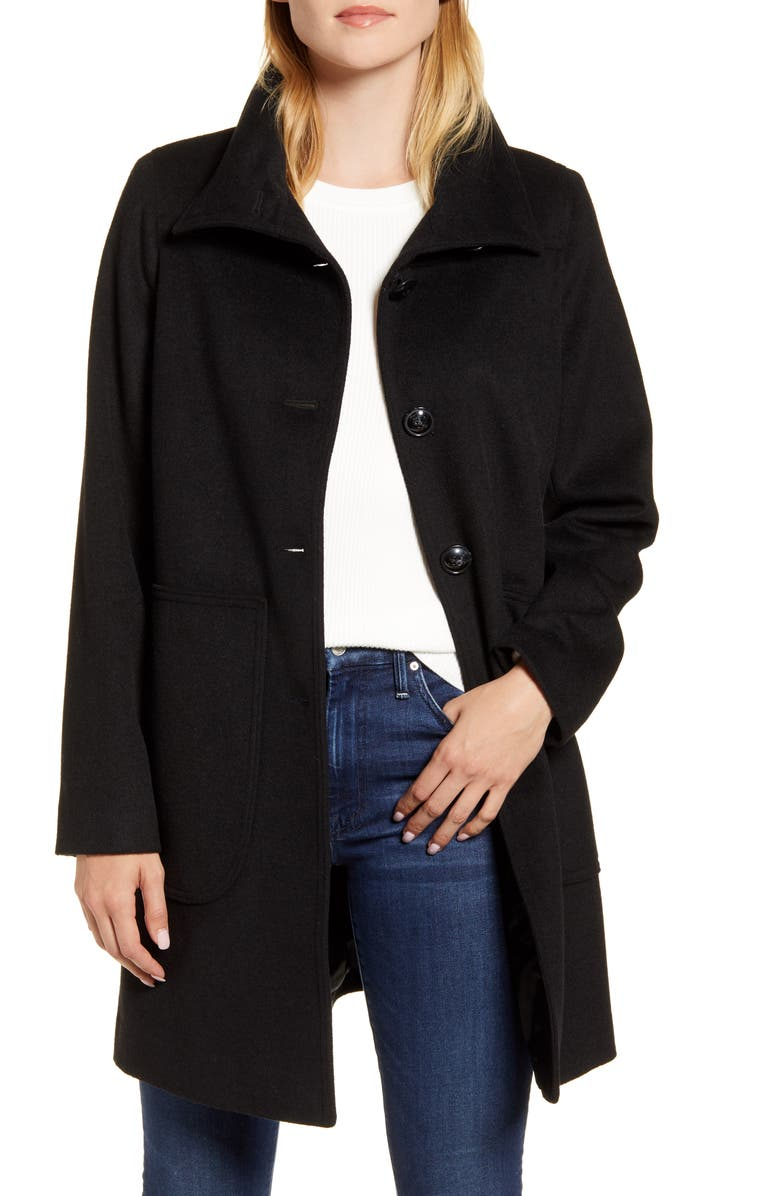 KRISTEN BLAKE Studio Collection Wool Blend Walking Coat, Main, color, 001