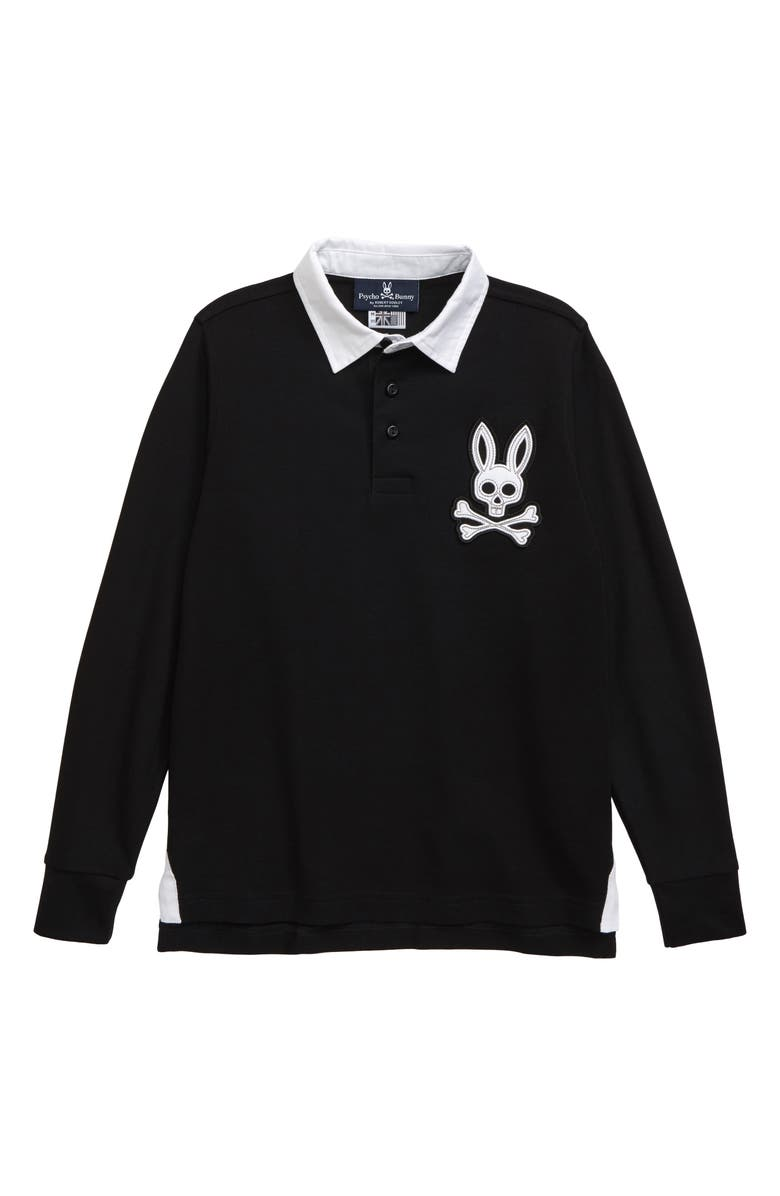PSYCHO BUNNY Derby Long Sleeve Polo, Main, color, 001