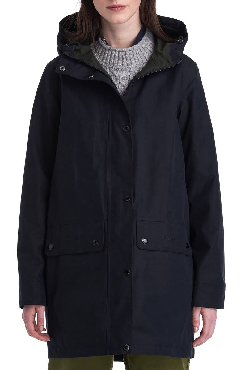 BARBOUR Manor Waterproof Hooded Rain Jacket, Main, color, BLACK/ SAGE MARL