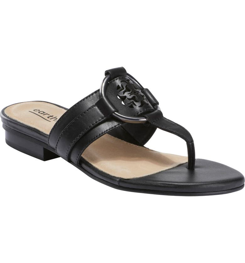 EARTH<SUP>®</SUP> Mykonos Tinos Flip Flop, Main, color, BLACK LEATHER