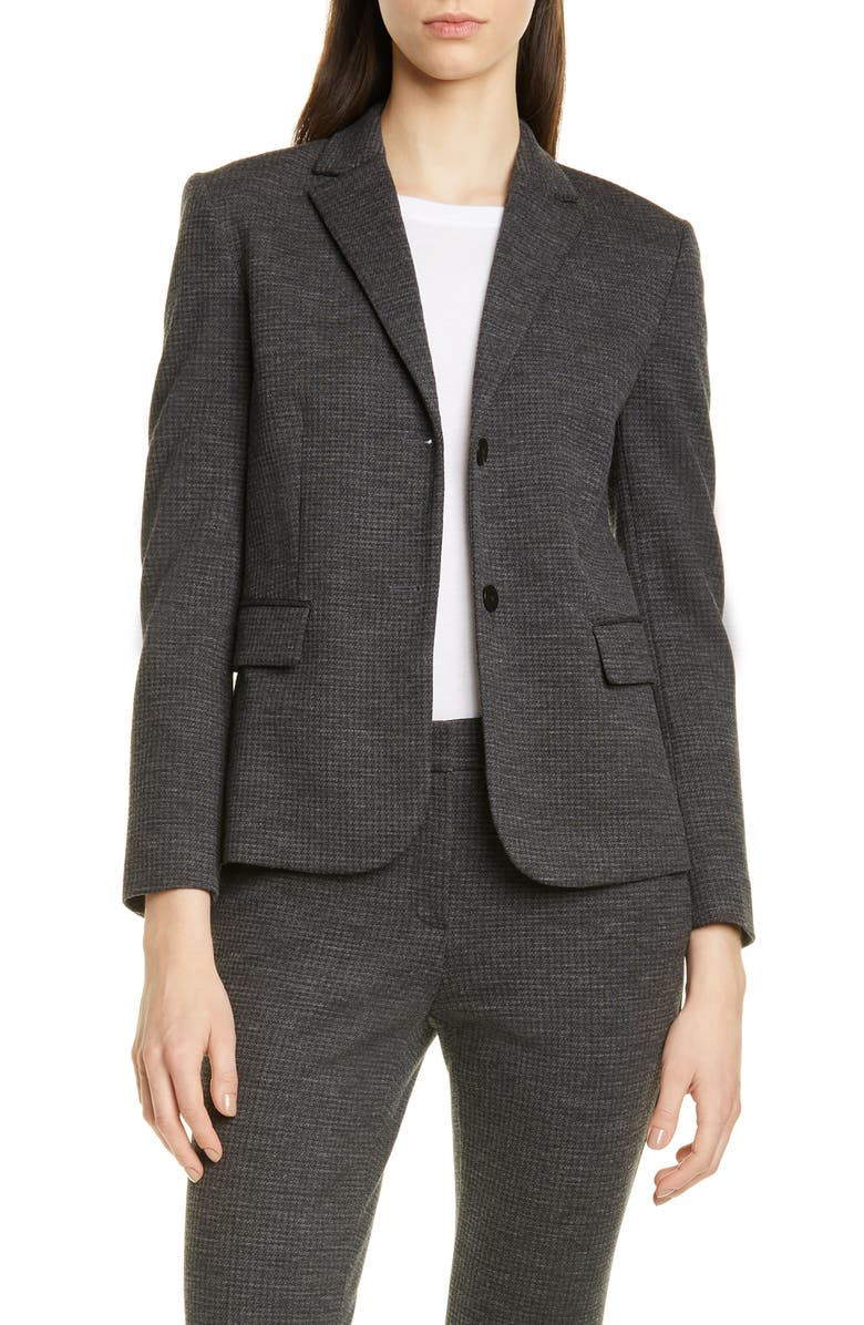 THEORY Classic Cotton & Wool Blend Shrunken Jacket, Main, color, CHARCOAL MULTI