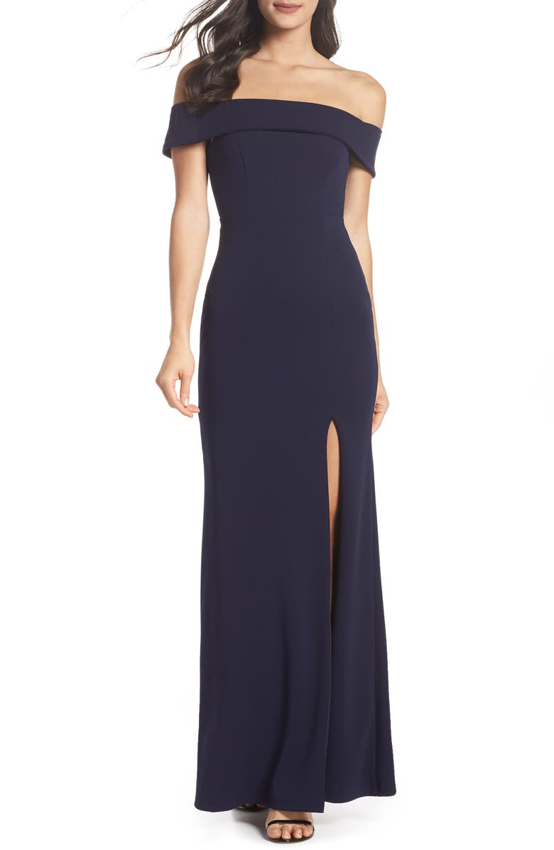 LULUS Off the Shoulder Mermaid Gown, Main, color, NAVY