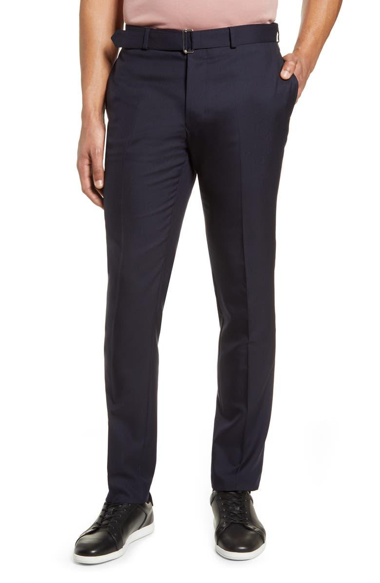 OFFICINE GÉNÉRALE Paul Slim Fit Wool Pants, Main, color, NAVY
