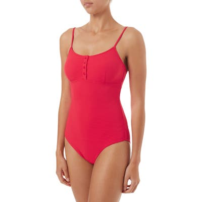 Melissa Odabash Calabasas Ribbed One-Piece Swimsuit, Red