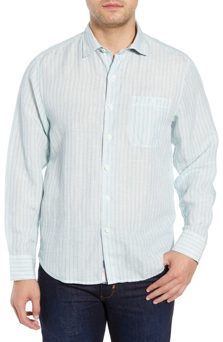 TOMMY BAHAMA Sand Stripe Linen Blend Sport Shirt, Main, color, 400