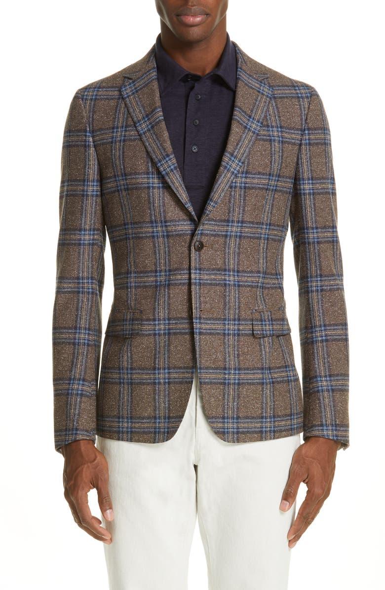 Z ZEGNA Trim Fit Plaid Wool & Silk Sport Coat, Main, color, 206
