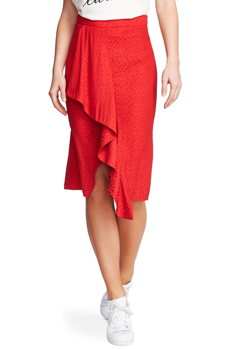 1.STATE Ruffle Front Leopard Jacquard Pencil Skirt, Main, color, CHERRY RED