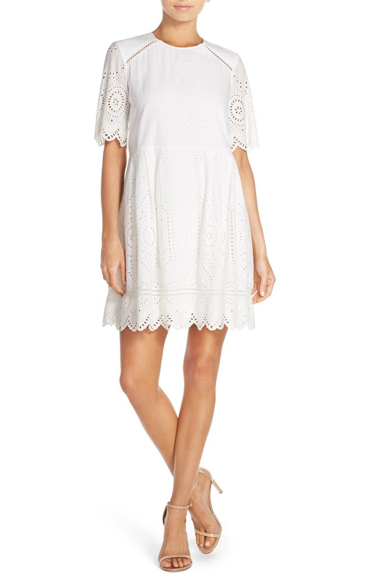 FRENCH CONNECTION 'Josephine' Eyelet Shift Dress, Main, color, 104