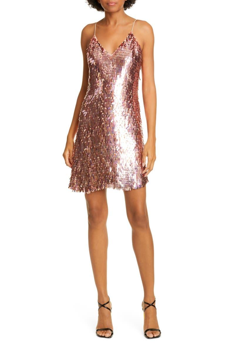 ALICE + OLIVIA Contessa Sequin Minidress, Main, color, IRIDESCENT PINK
