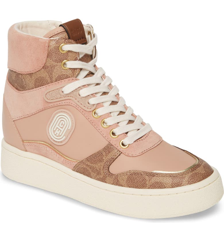 COACH C220 High Top Sneaker, Main, color, TAN/ BLUSH MULTI