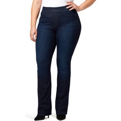 Plus Size Sanctuary Uplift Pull-On Demi Boot Jeans, Blue