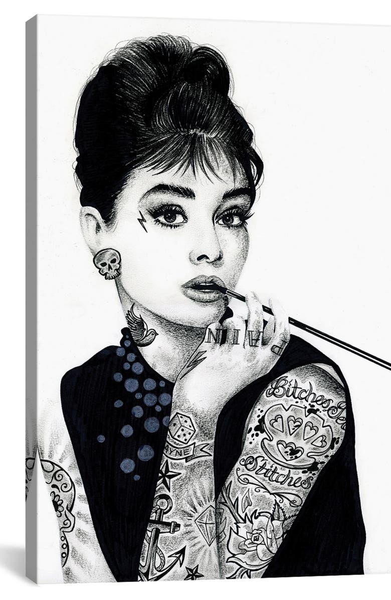ICANVAS Audrey Hepburn by Inked Ikons Giclée Print Canvas Art, Main, color, BLACK