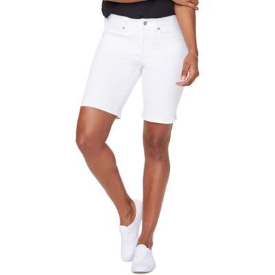 Petite Nydj Ella Side Slit Denim Shorts, White