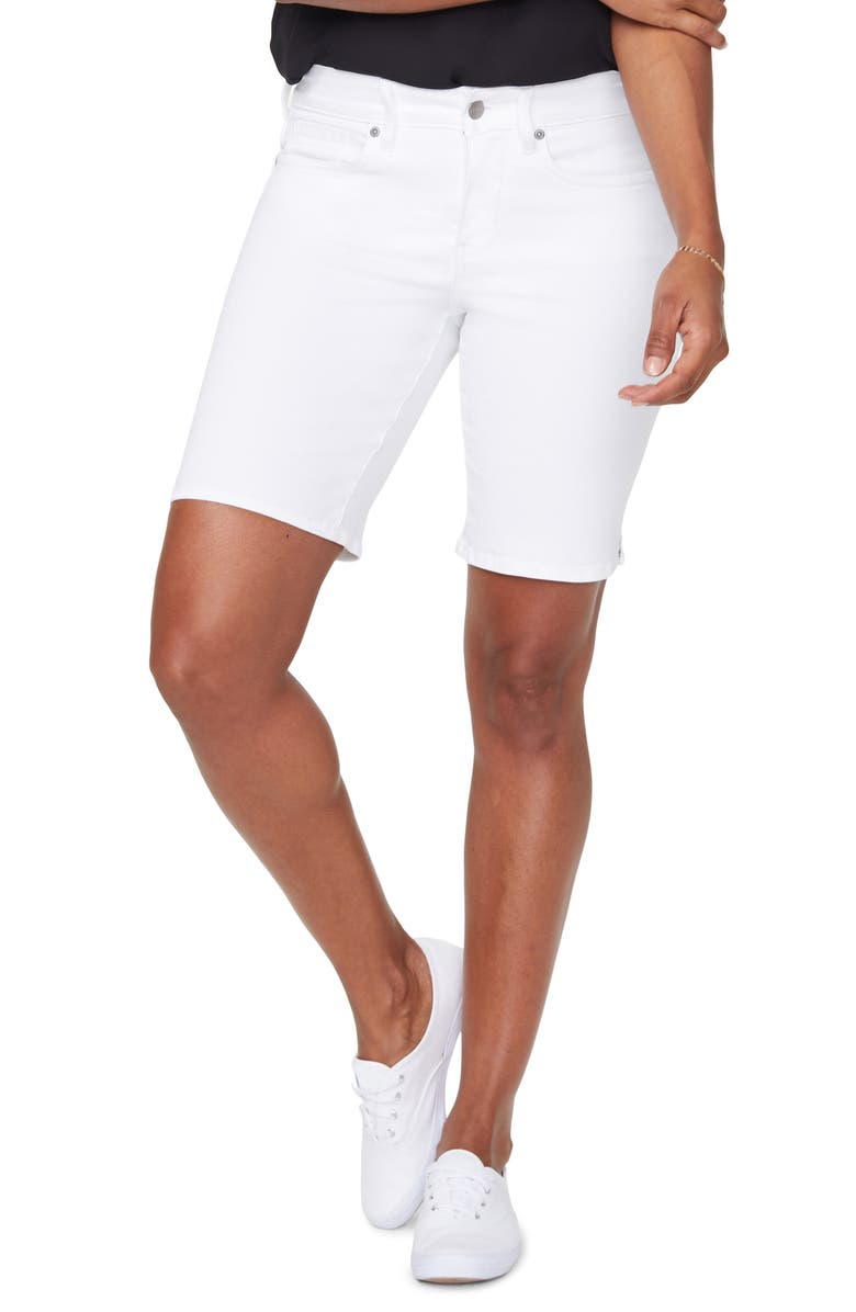 NYDJ Ella Side Slit Denim Shorts, Main, color, OPTIC WHITE