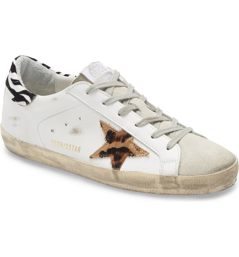 GOLDEN GOOSE Superstar Genuine Calf Hair Animal Print Sneaker, Main, color, WHITE LEATHER/ ANIMAL PRINT