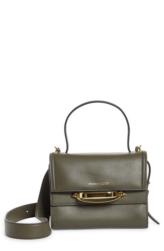 Alexander Mcqueen The Story Leather Top Handle Bag In Gray