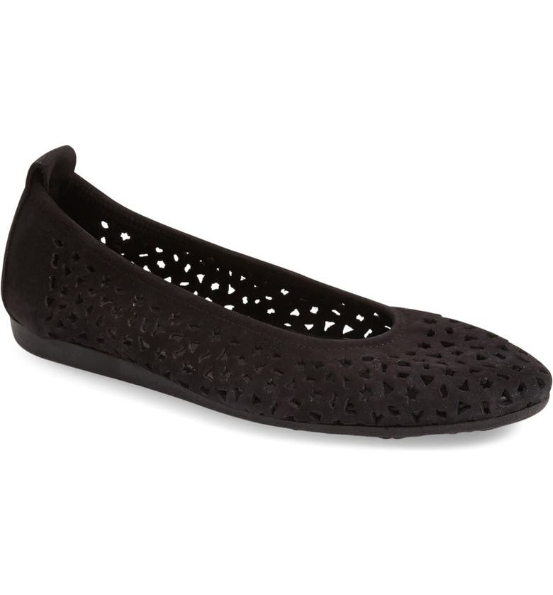 ARCHE 'Lilly' Flat, Main, color, BLACK NUBUCK LEATHER