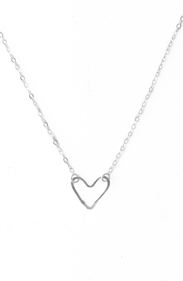 TERESSA LANE JEWELRY Hammered Heart Pendant Necklace, Main, color, SILVER