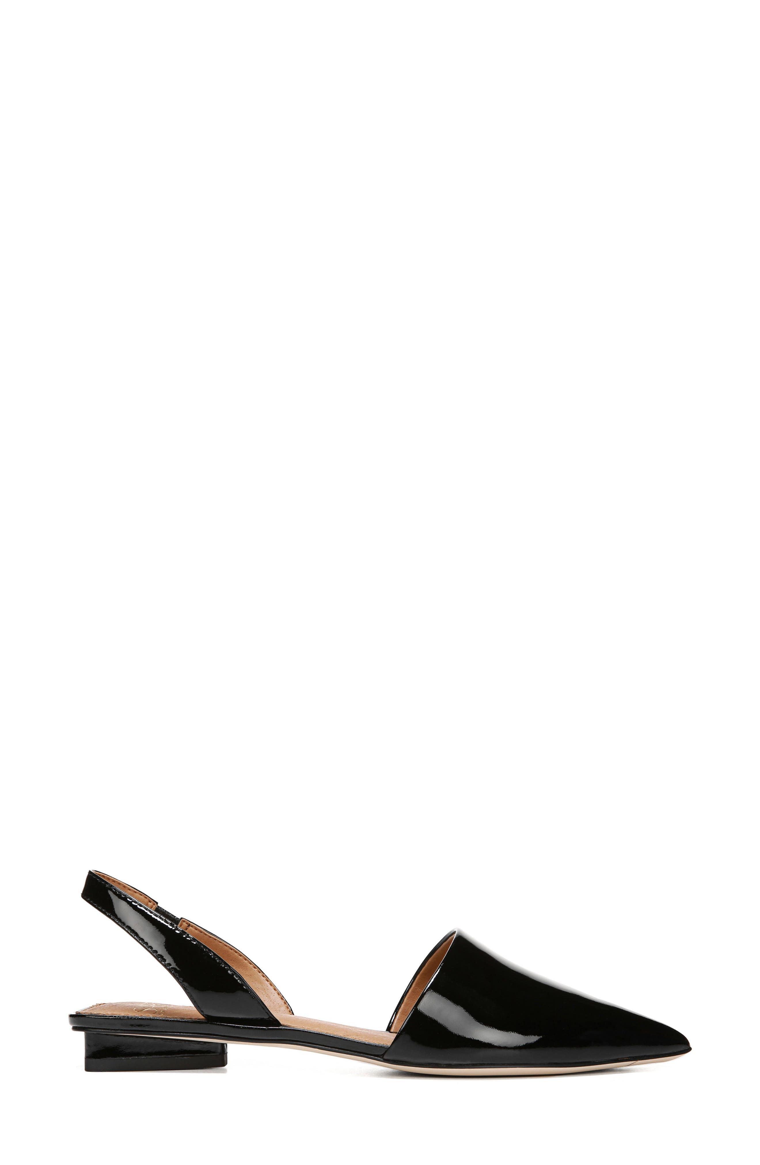 ,                             Graydon Pointy Toe Slingback Flat,                             Alternate thumbnail 3, color,                             BLACK PATENT LEATHER