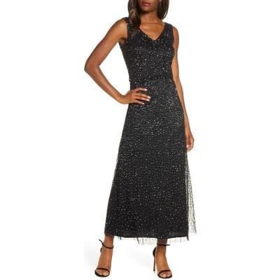 Petite Pisarro Nights Beaded Double V-Neck Gown, Black
