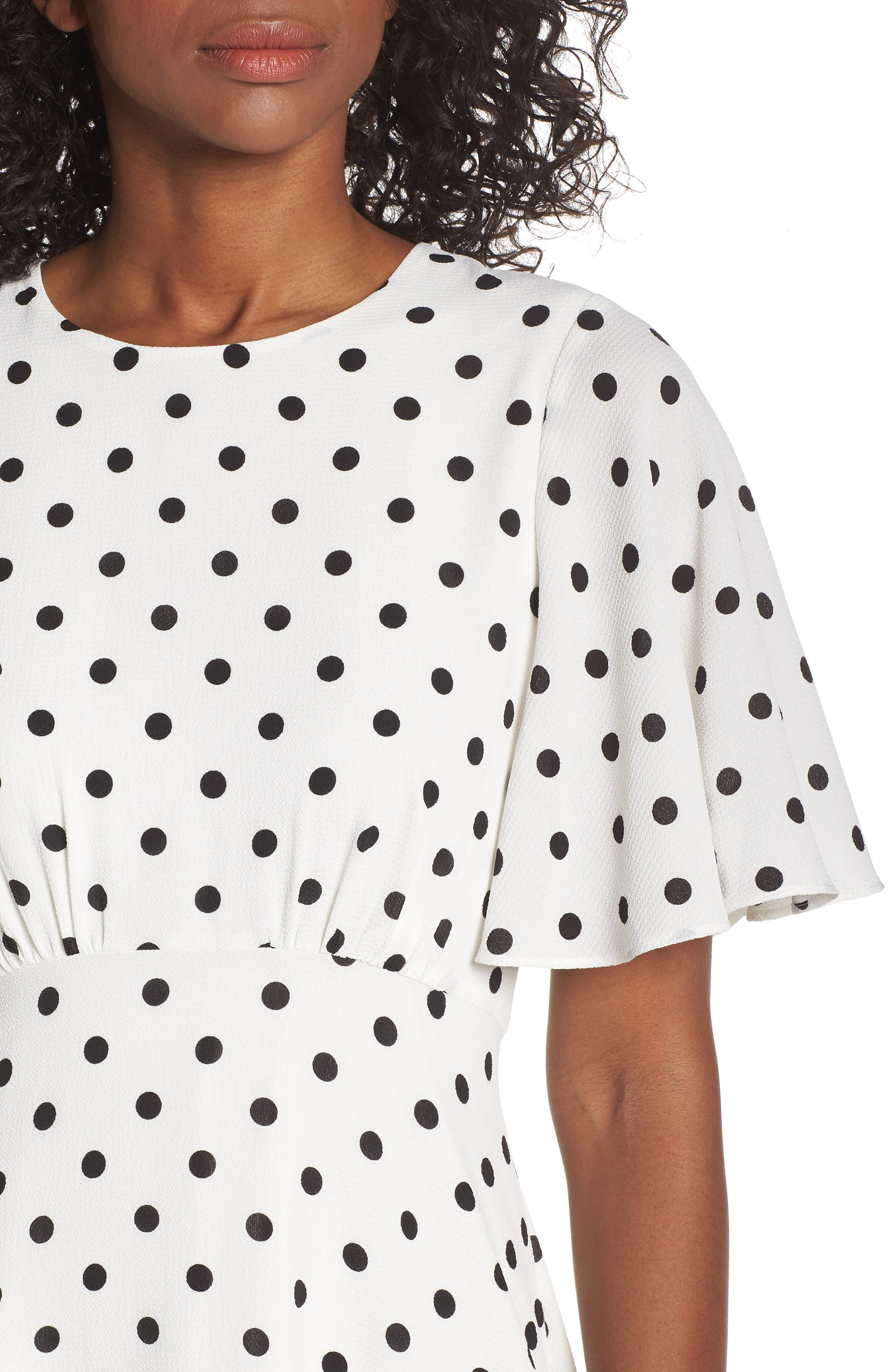 ,                             Dot High/Low Fit & Flare Dress,                             Alternate thumbnail 5, color,                             BLACK/ WHITE