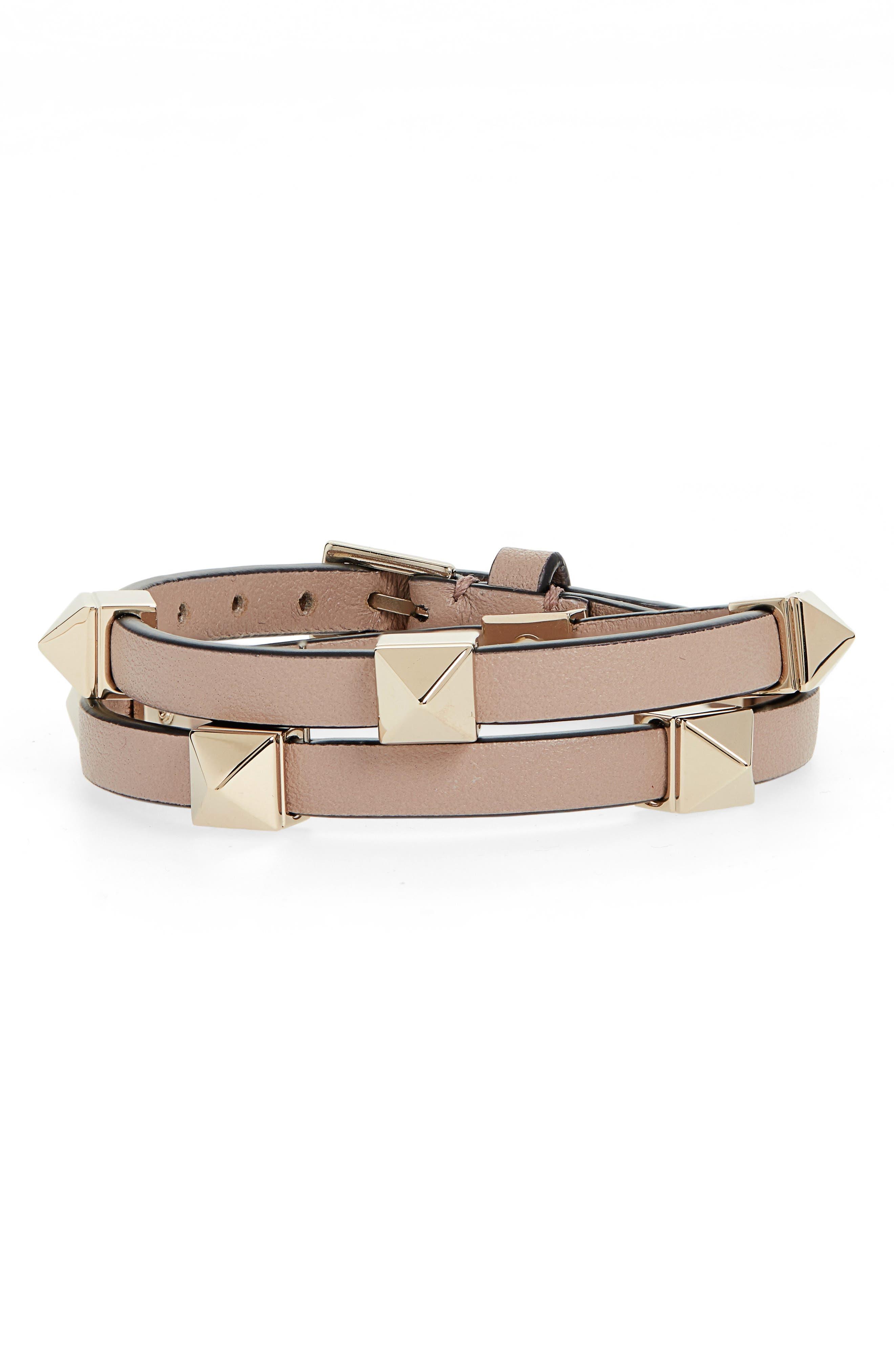 Rockstud Double Wrap Leather Bracelet, Main, color, POUDRE
