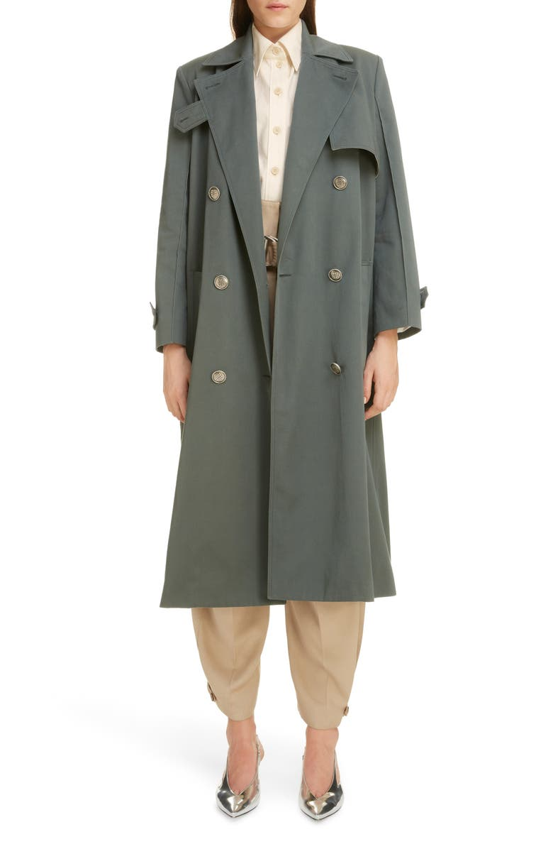 GIVENCHY 4G Logo Button Cotton Gabardine Trench Coat, Main, color, 440