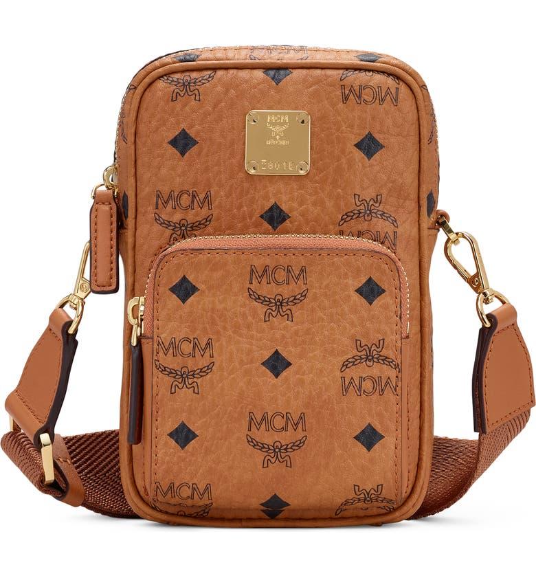MCM Mini Visetos Original Coated Canvas Crossbody Bag, Main, color, COGNAC