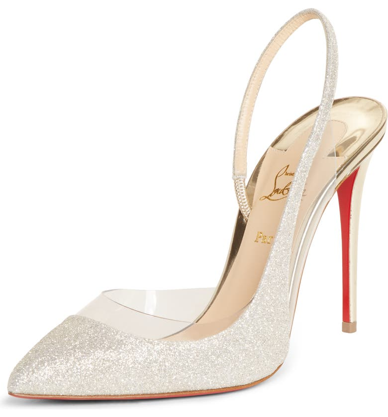 CHRISTIAN LOUBOUTIN Optisexy Glitter Slingback Pump, Main, color, SILVER/ LIGHT GOLD