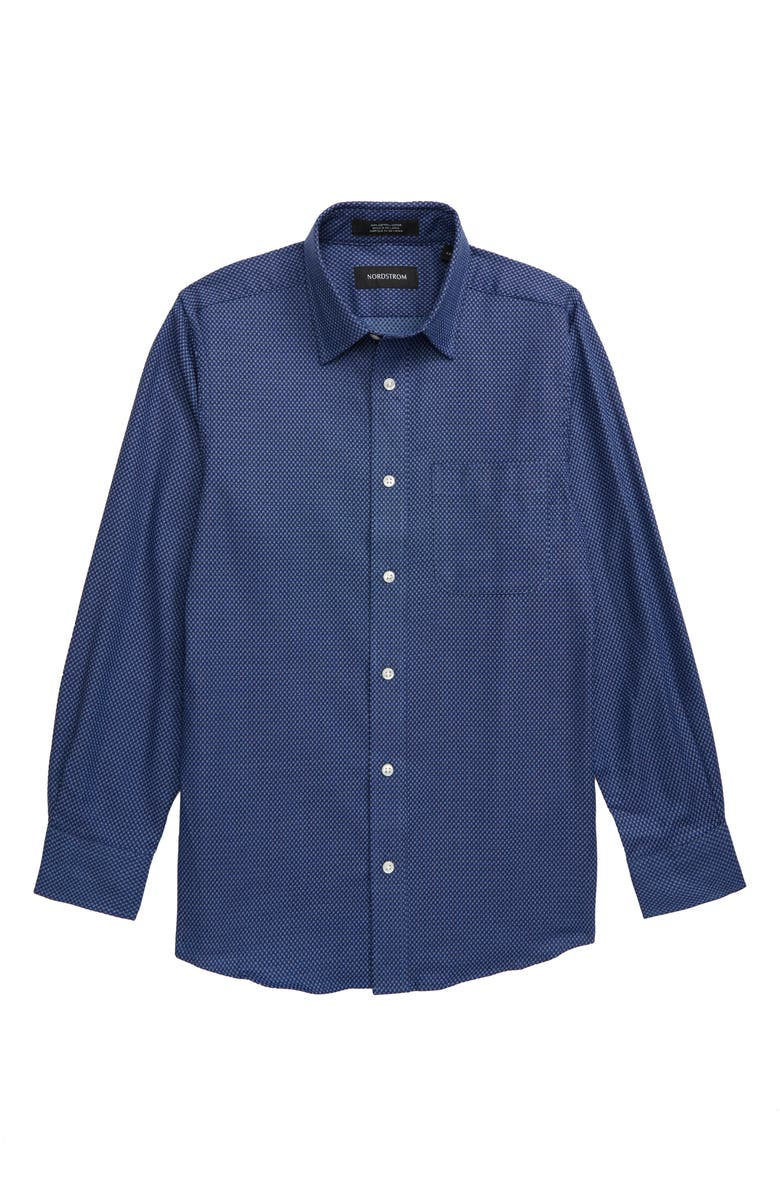NORDSTROM Neat Dress Shirt, Main, color, BLUE MAZARINE SQUARES