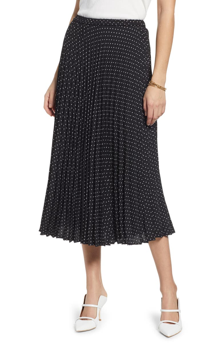 HALOGEN<SUP>®</SUP> Pleated Midi Skirt, Main, color, BLACK- IVORY LADY DOT