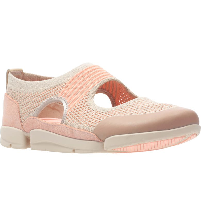 CLARKS<SUP>®</SUP> Tri Tone Sneaker, Main, color, LIGHT PINK COMBI LEATHER