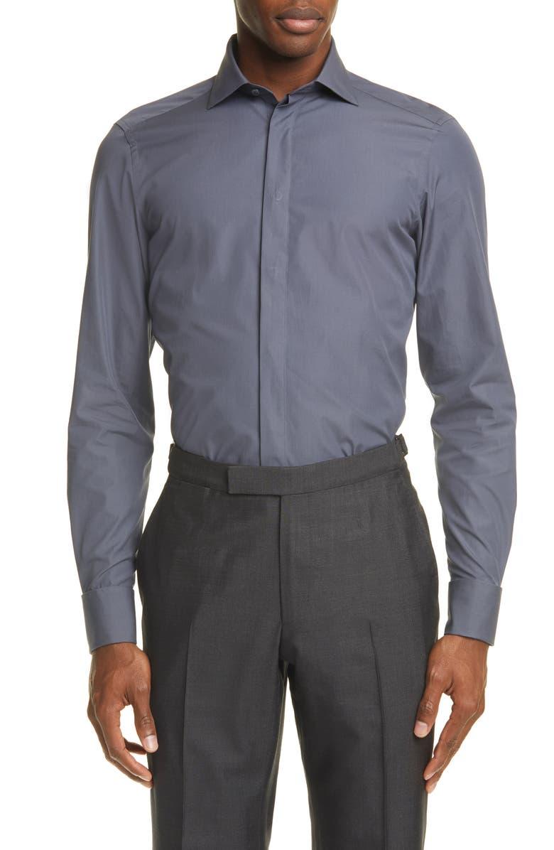 ERMENEGILDO ZEGNA Classic Fit Button-Up Shirt, Main, color, GREY