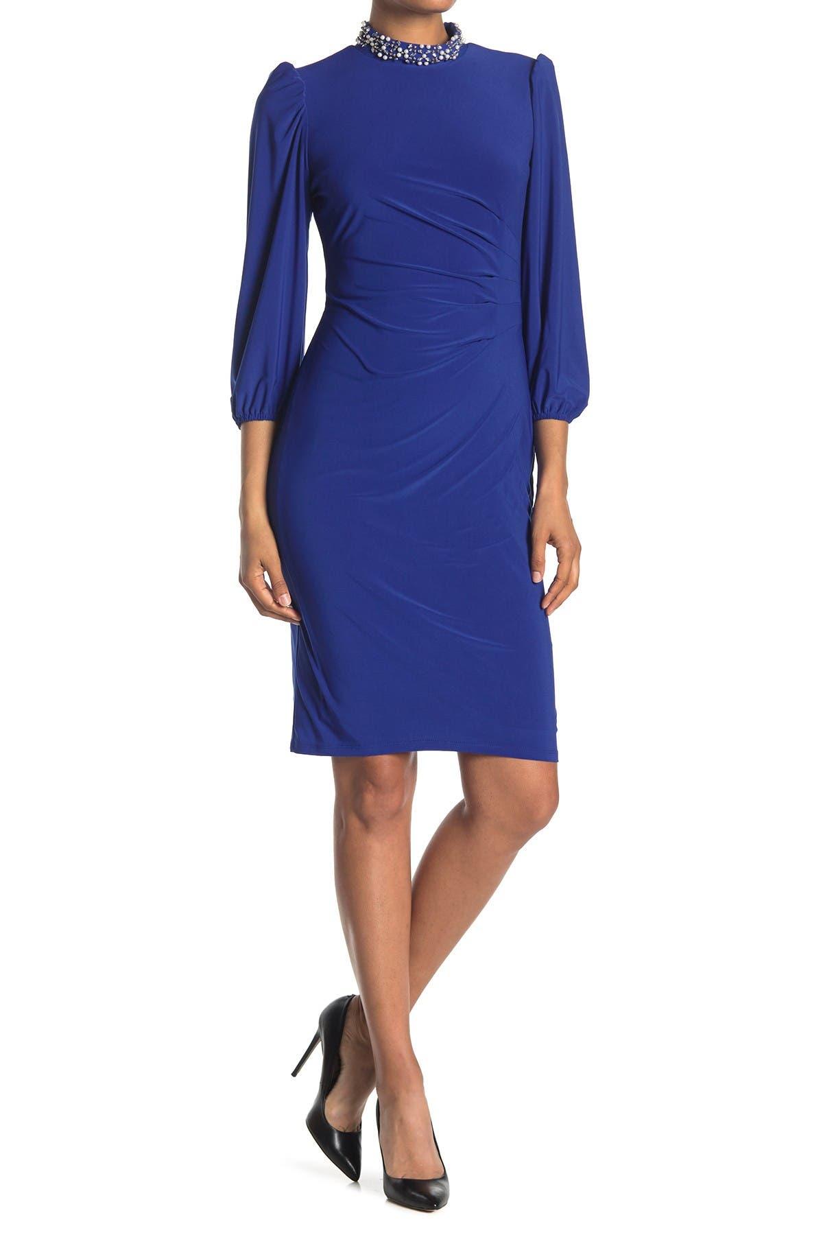 Image of Marina Embellished Neck Puff Sleeve Dress