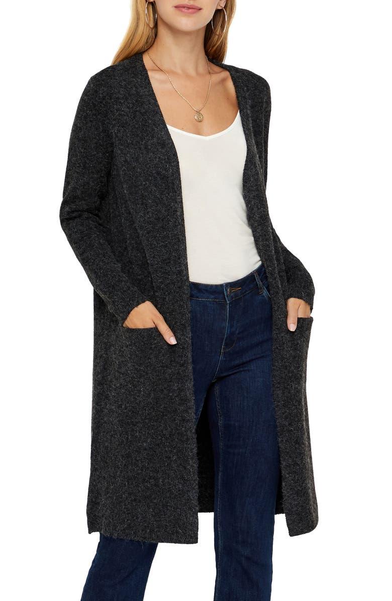 VERO MODA Doffy Open Front Long Cardigan, Main, color, BLACK