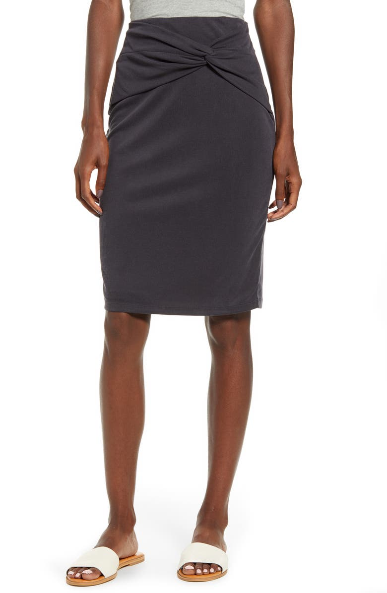 SPLENDID Knot Detail Skirt, Main, color, BLACK