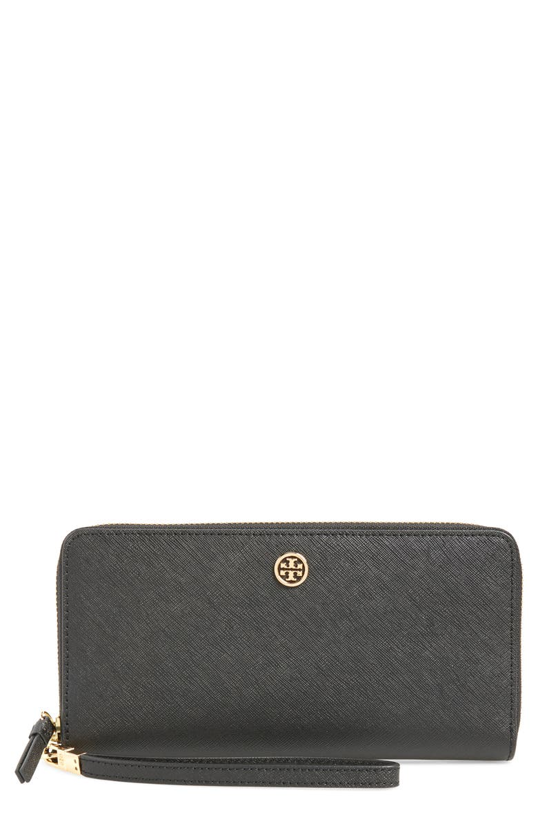 TORY BURCH Robinson Leather Passport Continental Wallet, Main, color, BLACK
