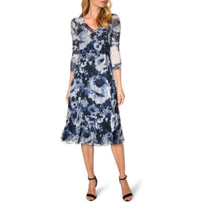 Komarov Floral Print Charmeuse A-Line Dress, Blue