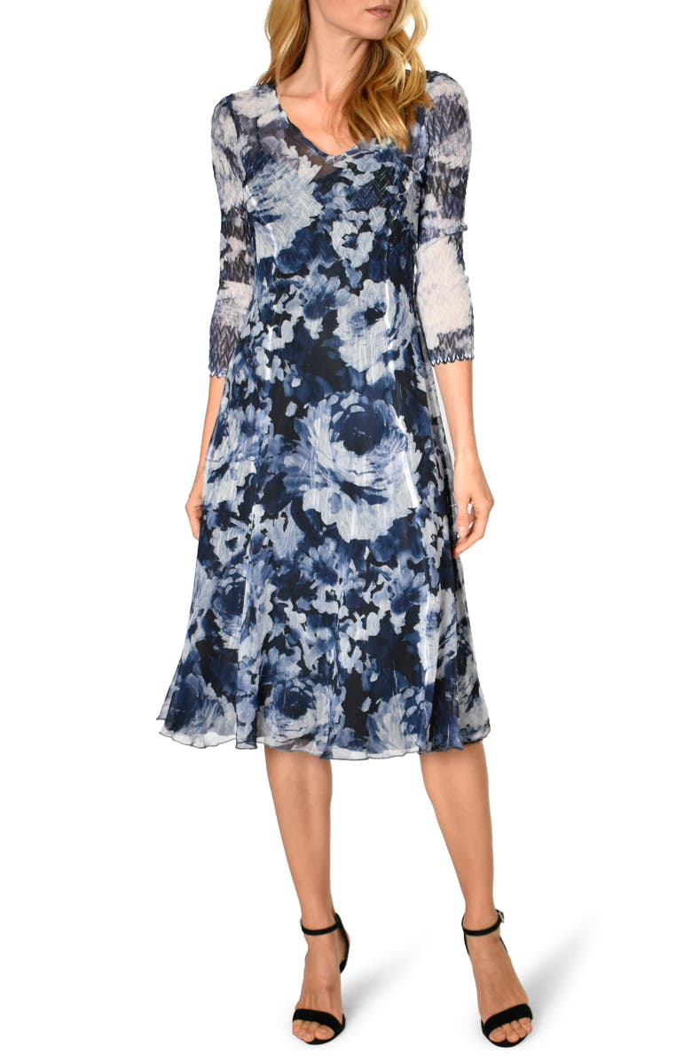 KOMAROV Floral Print Charmeuse A-Line Dress, Main, color, WATERCOLOR BLOSSOM