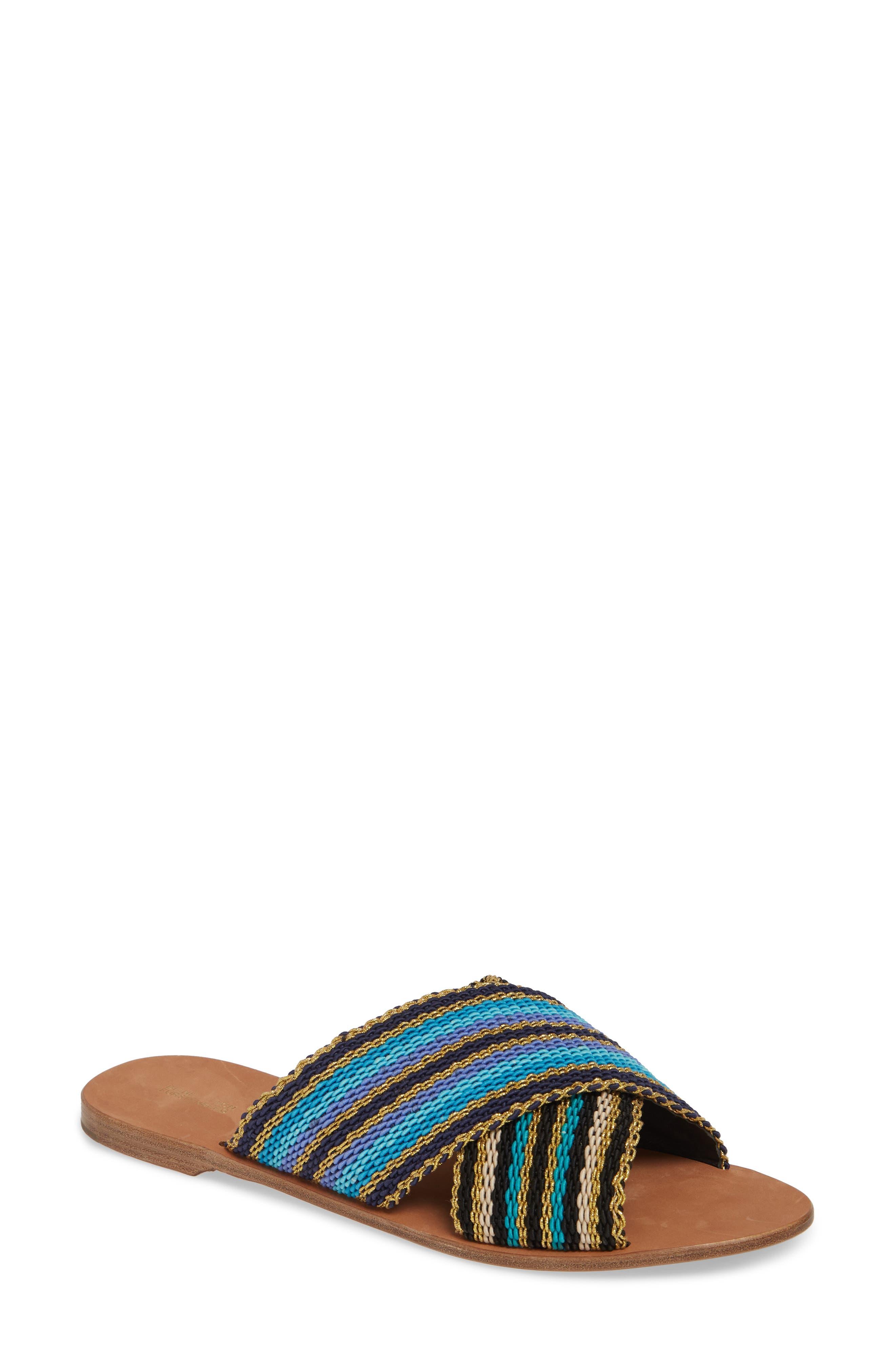 Diane Von Furstenberg Cindi Woven Slide Sandal, Blue