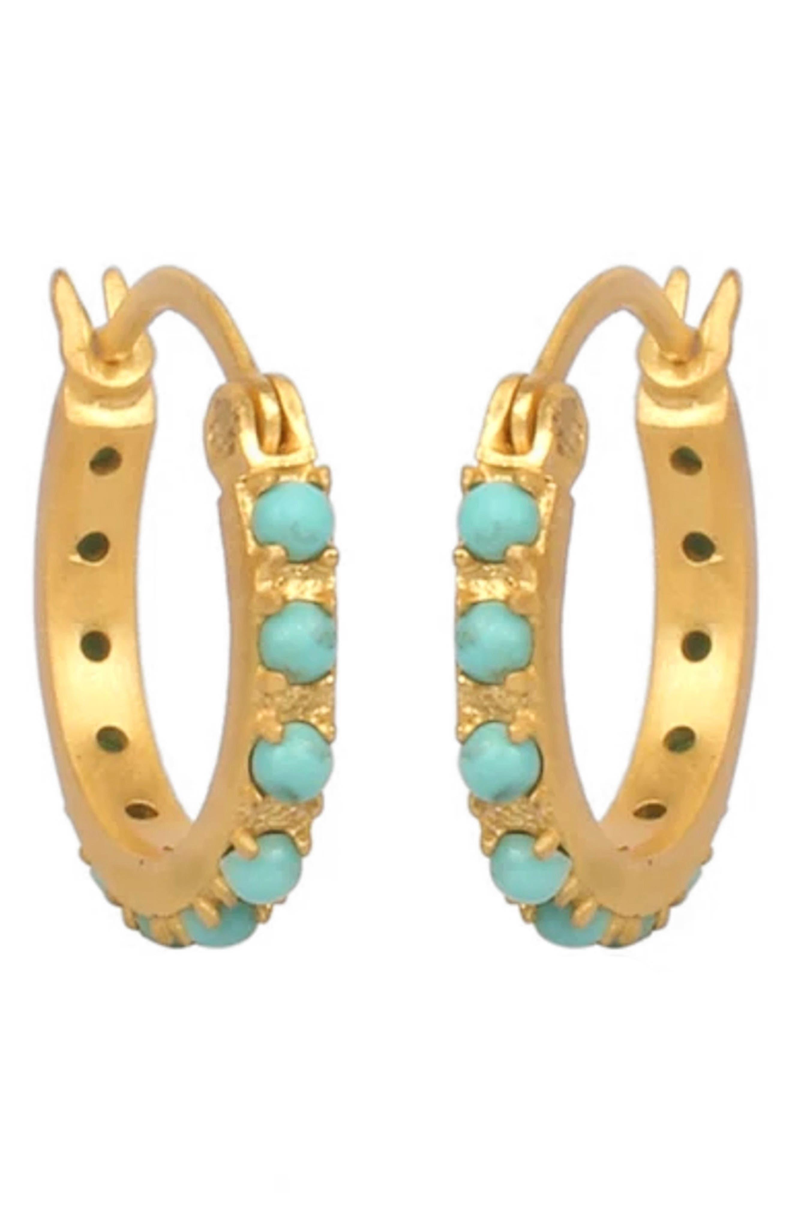 Simplicity Turquoise Huggie Hoop Earrings