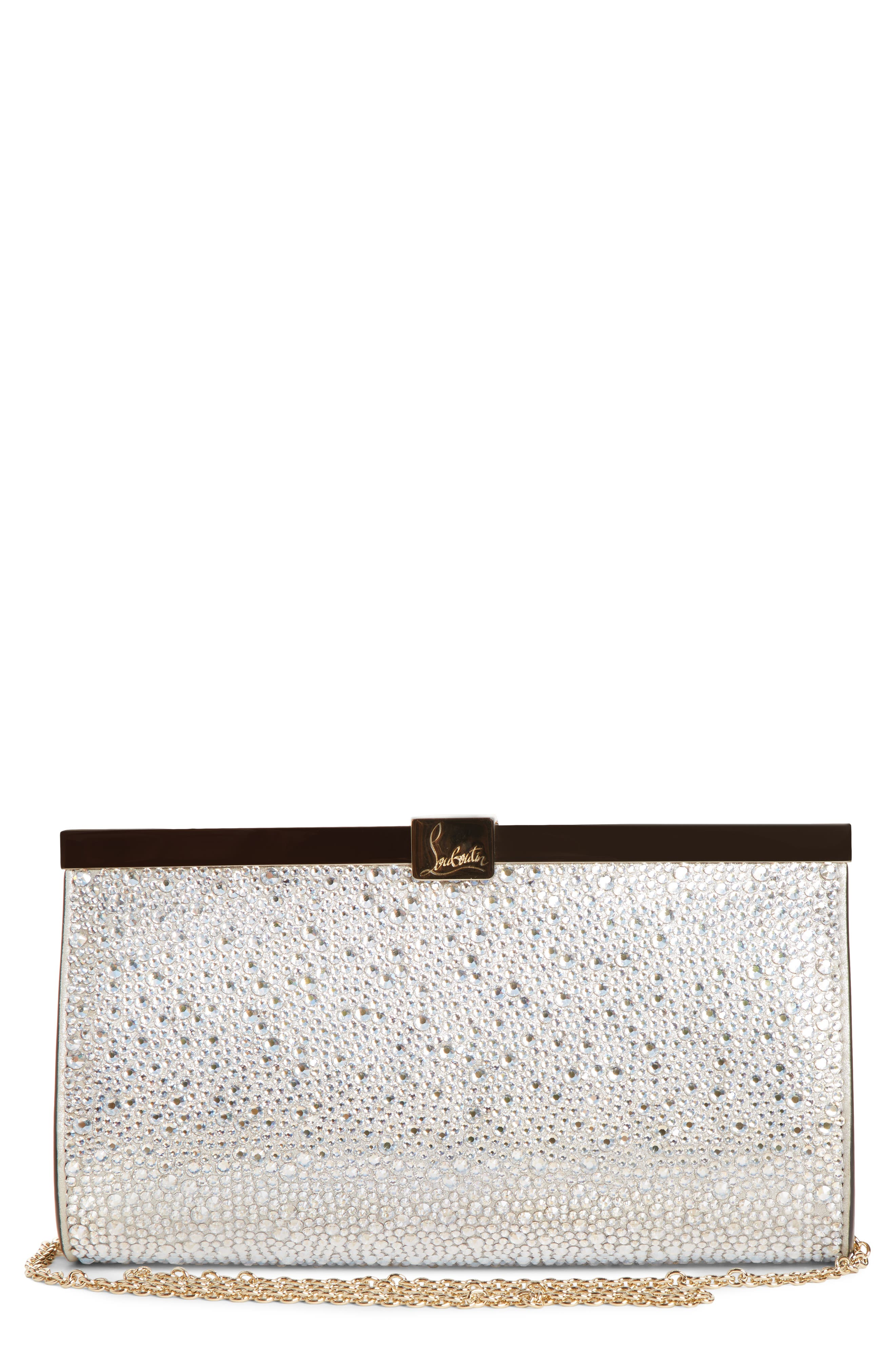 89a1844462 Christian Louboutin Small Palmette Crystal Embellished Clutch - Metallic