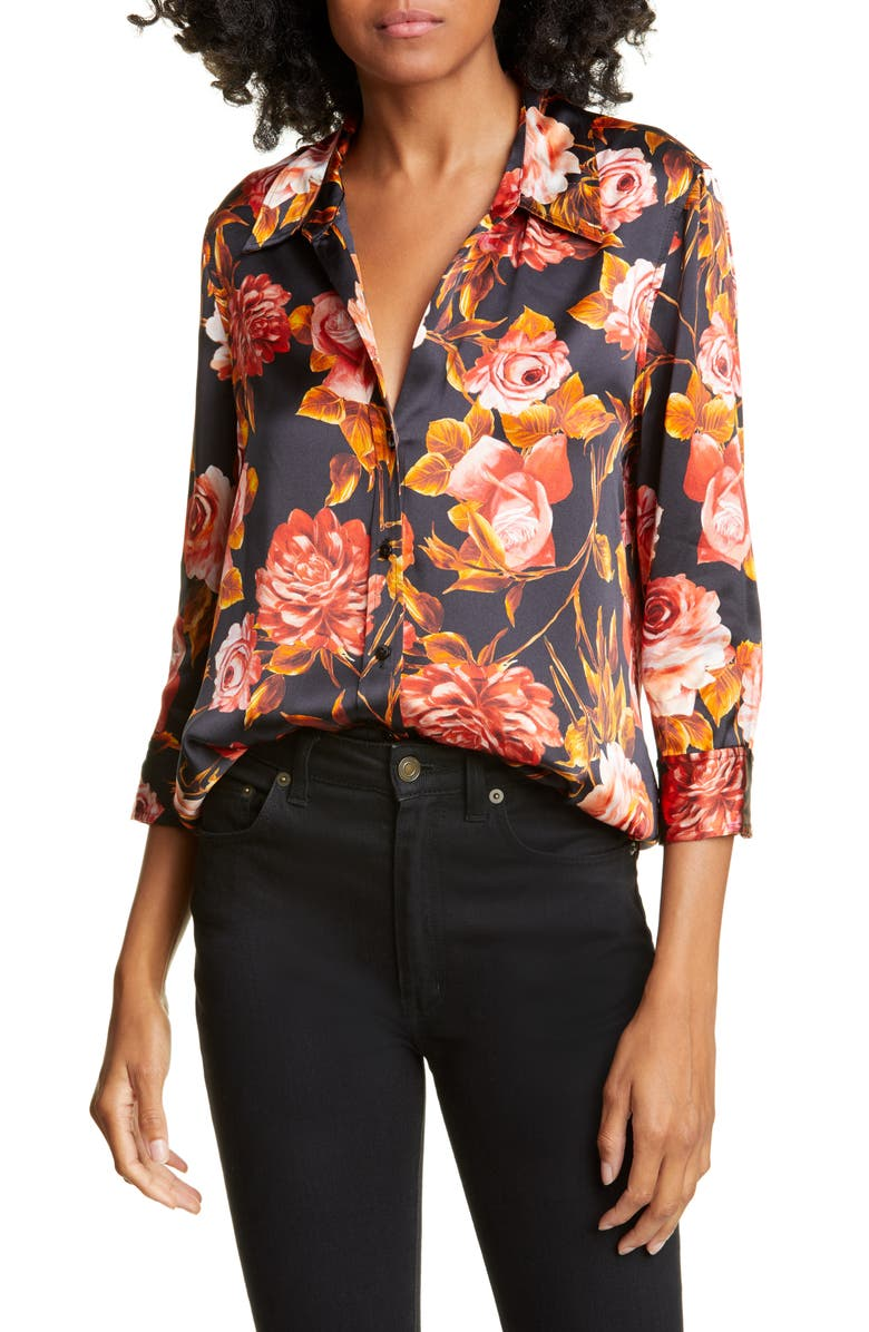 L'AGENCE Dani Floral Print Silk Charmeuse Blouse, Main, color, BASALT ROSA