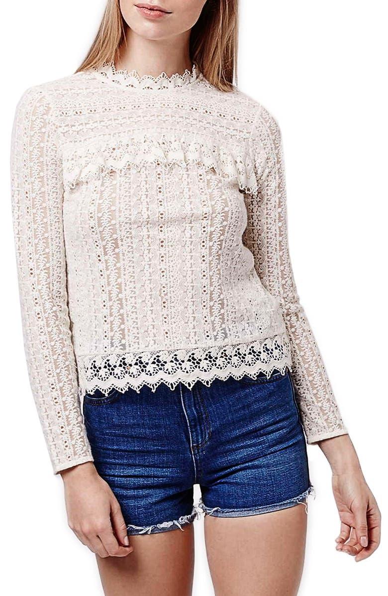 TOPSHOP 'Victoriana' Lace Top, Main, color, 900