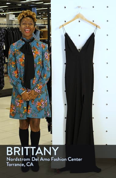 Saylor Eyelash Trim V-Neck Gown, sales video thumbnail