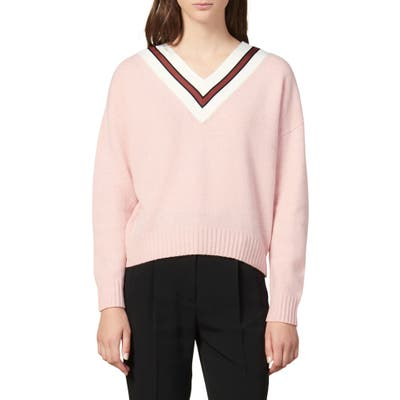 Sandro Stripes V-Neck Wool Blend Sweater, (fits like 6 US) - Pink